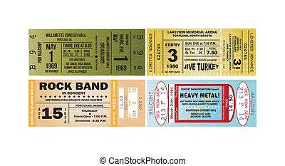 Concert Ticket Vectors - Four concert tickets as vectors.