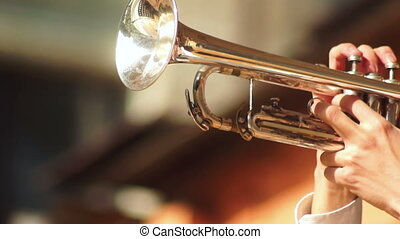 Concert trumpet man music - Man blowing cheeks playing the...