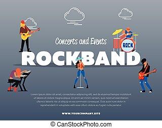 concert, und, ereignisse, rockband, banner