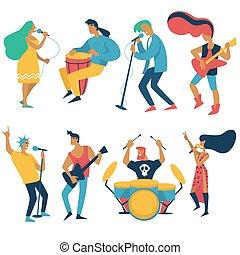 concert, vrijstaand, musici, muziek, karakters, rots, ...