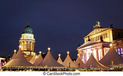 concerto, alemão, berlim, alemanha, igreja, gendarmenmarkt, corredor