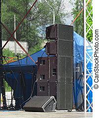 concerto, altoparlanti, industriale, vecchio, potente, audio, palcoscenico