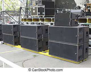 concerto, altoparlanti, vecchio, powerfull, apparecchiatura,...