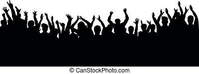 concerto, aplauso, torcida, pessoas., silueta, alegre, partido