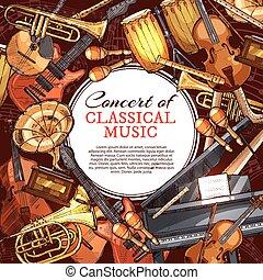 concerto, cartaz, instrumento, desenho, música, musical