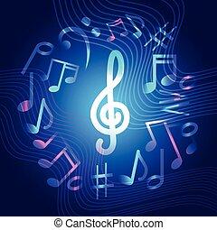 concerto, coloridos, cartaz, notas, modernos, música, bandeira, musical