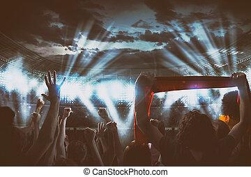concerto, delirante, notte, vivere, ventilatori, stadio, sotto, evento, gruppi ottici anteriori