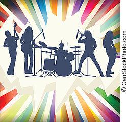 concerto, estouro, vect, ilustração, faixa, silhuetas,...