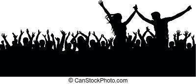 concerto, folla, ballo, coppia, applaud., giovane, silhouette., allegro, persone, ventilatori, disco., festa