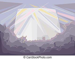 concerto, folla, palcoscenico