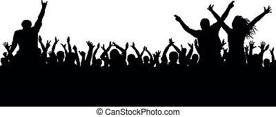concerto, folla, persone, applaud., silhouette., allegro, ballo, ventilatori, disco., festa