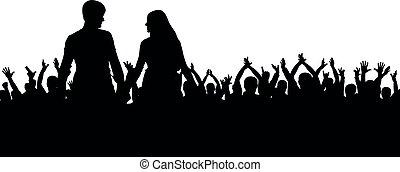 concerto, folla, persone, coppia, applaud., silhouette., allegro, ballo, ventilatori, disco.young, festa