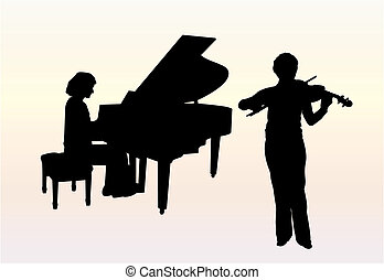 Two women are playing violin and piano at the concerto. EPS file available.