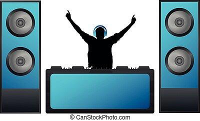 concerto, jogos, festival, grande, fones, clube, música, mixer., dj, musical, partido, speakers.