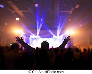 concerto, mãos, noturna, seu, música, elogio, igreja, concept:christians, adoração, levantamento