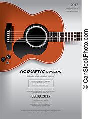 concerto, manifesto, chitarra, fondo, acustico, sagoma