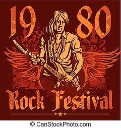 concerto, manifesto, roccia, -, vettore, 1980s., illustration.