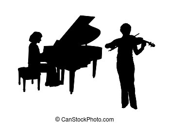 concerto, para, piano, e, violino