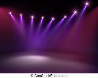 concerto, pavimento, luci punto, illumina, palcoscenico