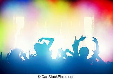 concerto, pessoas, clube, discoteca, noturna, divertimento, partido., tendo