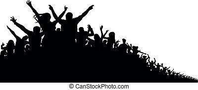 concerto, silhouette, applauso, folla, persone, ventilatori, allegro, sport, fondo., vettore, festa