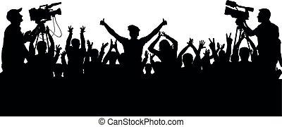 concerto, silueta, aplauso, torcida, pessoas, fans., isolado, esportes, alegrando, vetorial, fundo, partido.
