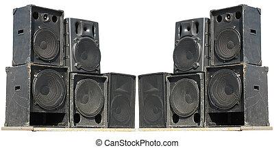 concerto, sprekers, oud, machtig, vrijstaand, witte , audio,...