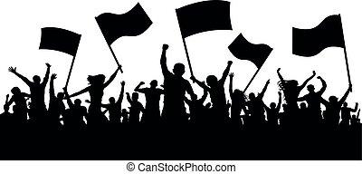 concerto, torcida, applauding., pessoas, dança, discoteca, alegre, demonstração, ventiladores, esportes, protest., flags., silhouette.