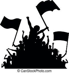 concerto, torcida, applauding., pessoas, dança, silhouette., alegre, demonstração, ventiladores, bandeiras, disco., protest., esportes