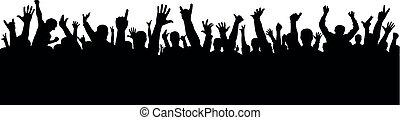 concerto, torcida, pessoas., isolado, silhouette., alegrando, aplauso