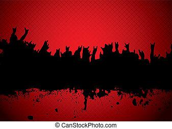 concerto, torcida, vermelho