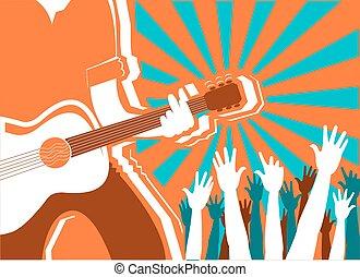 concerto, vetorial, experiência., rocha, músico, cartaz