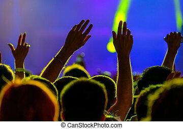 concerto, vivere, aria, applauso, ventilatori, aperto