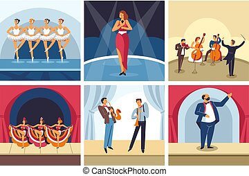 Concerts dancing and singing show opera and ballet orchestra and cabaret