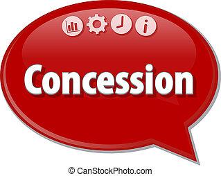 Concession Business term speech bubble illustration