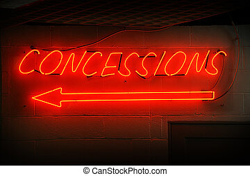 Concessions Neon Sign - Red neon concessions signs with...