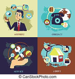 concetti, affari, servizio, disegno, appartamento, cliente