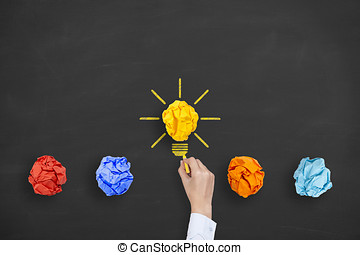 concetti, luce, innovazione, idea, lavagna, bulbo