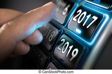 concetto, 2017, cominciando, affari, anno