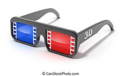 concetto, 3d, film, occhiali