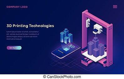 concetto, 3d, tecnologia, isometrico, stampante