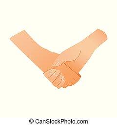 concetto, affare, affari, simbolo, -, isolato, due, fondo., mani umane, bianco, tremante, o, augurio