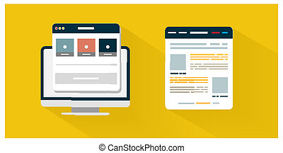 concetto, affari, app, moderno, icona, browser