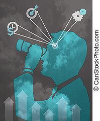 concetto, affari, binoculare, illustrazione, vettore, visione, uomo