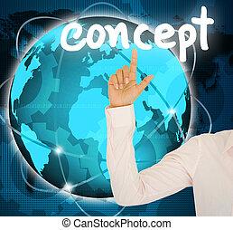 concetto, affari, bottone, mano, donna, contatto