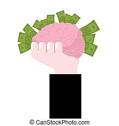 concetto, affari, cervelli, mano., soldi., idea, cervello, umano