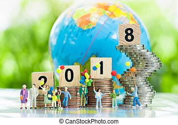 concetto affari, concept., 2018, anno, nuovo, felice