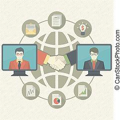 concetto, affari, cooperazione