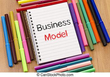 concetto, affari, felt-tip, testo, blocco note, penna, modello