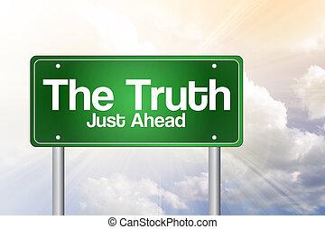 concetto, affari firmano, verde, verità, strada